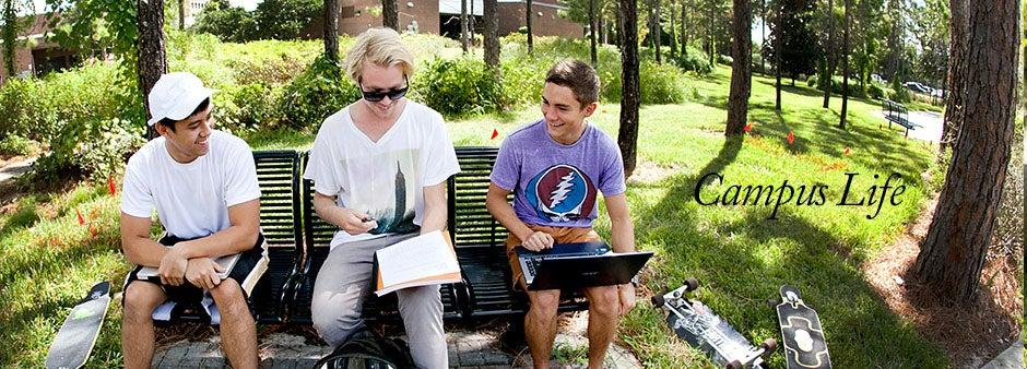 Campus Life Students near Burnett Honors