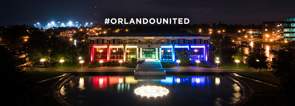 Millican Hall at night. #orlandounited