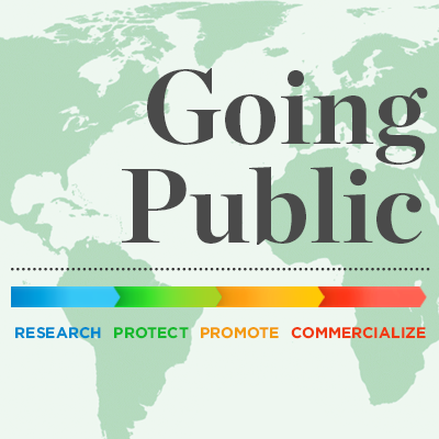 Going Public. Research, Protect, Promote, Commercialize