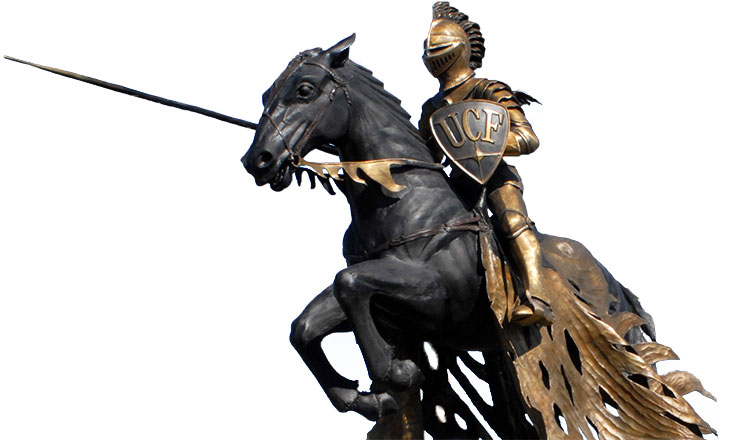 ucf knight statue: armored knight jousting on horse